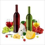 Vino rosso e bianco in bottiglie e vetri, tipi differenti di gr Fotografie Stock