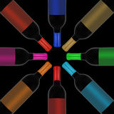 Vino rosso e una bottiglia Fotografie Stock
