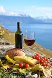 Vino rosso, formaggio, pane e pomodori ciliegia immagini stock