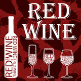 Vino rosso modello dell'uva su un fondo rosso immagine stock