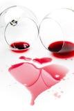 Vino rosso rovesciato Immagine Stock