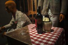 Vino toscano rojo en botellas Fotos de archivo
