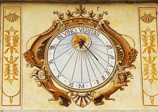 In Vino Veritas Sundial clock in Chateau de Pommard in Burgundy, France Royalty Free Stock Photo