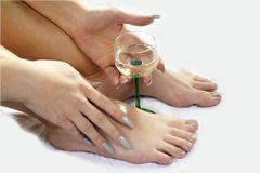 In vino veritas - vin Glas mellan händer & fot royaltyfri foto