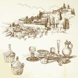 Vino, vigna, Toscana illustrazione di stock