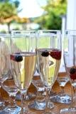 Vino y bayas en vidrios Fotografía de archivo