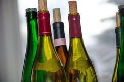 Vino y botellas de vino Imagen de archivo libre de regalías