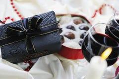 Vino y chocolate Foto de archivo libre de regalías