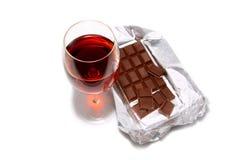 Vino y chocolate Imágenes de archivo libres de regalías