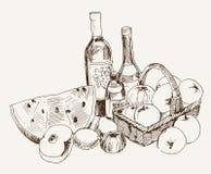 Vino y fruta Imagenes de archivo