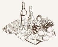 Vino y fruta Foto de archivo libre de regalías
