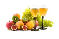 Vino y frutas Imagenes de archivo