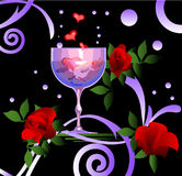 Vino y rosas Fotos de archivo libres de regalías