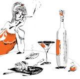 Vino y vidrio blancos y negros stock de ilustración