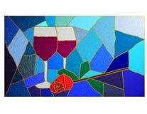 Vino y vidrio manchado de Rose Fotografía de archivo