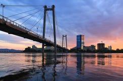 Vinogradovsy bridge in Krasnoyarsk Royalty Free Stock Image