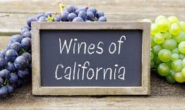 Vinos de California, pizarra con las uvas de vino Foto de archivo libre de regalías