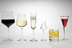 Vinos y bebidas espirituosas con los vidrios especiales Fotos de archivo