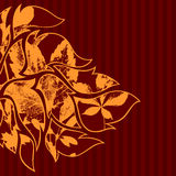 Vinous back. A square background with gold flourishes and floral elements Stock Image