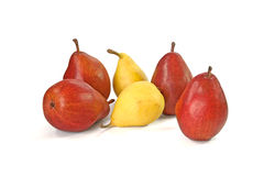 Vinous and yellow pears  on white Stock Photography