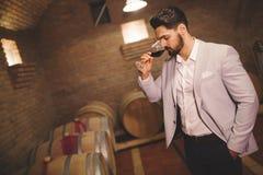Vinproducent som kontrollerar vin i källare Royaltyfri Bild