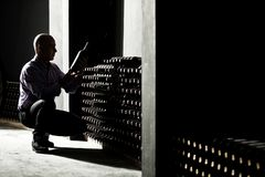 Vinproducent som kontrollerar vinflaskor i en mörk källare arkivbild