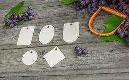 Vinranka med druvor, sidor på den lantliga trätabellen för tappning Uppsättningen av differentspapper märker mallen Arkivfoton