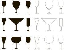 Vinrankaexponeringsglas, kontur och översikt Royaltyfri Illustrationer