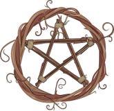 Vinrankakrans och pentagram stock illustrationer