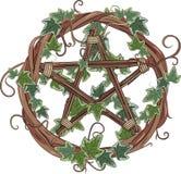 Vinrankakrans som flätas ihop med murgrönan och pentagram royaltyfri illustrationer