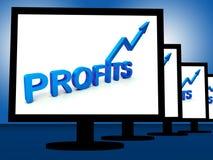 Vinster på bildskärmar som visar lönande inkomster vektor illustrationer