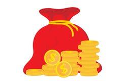 Vinstpengar Begrepp av ekonomisk eller marknadstillväxt för affärsframgång, Pengarpåse, inkomst, materiel Enkel symbolssäcklägenh royaltyfri illustrationer
