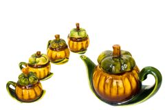 Vintae-Mangostanfrucht-Teekannensitzung Lizenzfreie Stockfotos