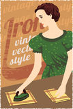 Vintag advertising poster. Lady with iron. Vector illustration Vector Illustration