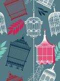 Vintag Muster mit Birdcages Stockfotografie