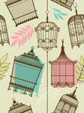 Vintag pattern with birdcages Stock Photography