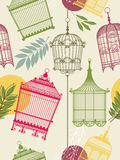 Vintag pattern with birdcages Stock Photos