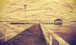 Vintage湖风景 免版税库存图片