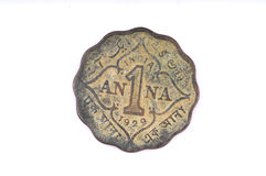 Vintage 1 anna coin Royalty Free Stock Images