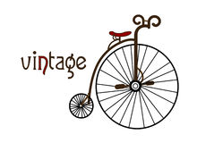 Vintage. Old bicycle on a white background creates a picture in the style of vintage Royalty Free Stock Photo