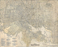 Vintage 1891 map of the city of Baltimore Stock Image