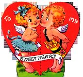 Vintage 1930s Valentine Sweetheart Kiss Stock Photos