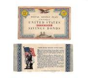 Vintage 1940's Defense Bond Stamp Book stock photos