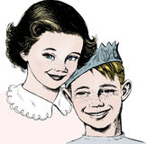 Vintage 1950s Girl and Boy. Vintage 1950s etched-style girl and boy. Detailed black and white from authentic hand-drawn scratchboard includes full colorization stock illustration