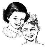 Vintage 1950s Girl and Boy. Vintage 1950s etched-style girl and boy. Detailed black and white from authentic hand-drawn scratchboard vector illustration