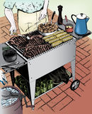 Vintage 1950s Man Grilling. Vintage 1950s etched-style man grilling some ribs on the BBQ. Detailed black and white from authentic hand-drawn scratchboard Royalty Free Illustration