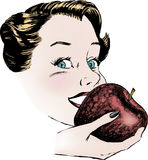 Vintage 1950s Woman Eating Apple. Vintage 1950s etched-style woman eating an apple.  Detailed black and white from authentic hand-drawn scratchboard includes Royalty Free Stock Photo