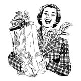 Vintage 1950s Woman with Groceries. Vintage 1950s etched-style woman with grocery bag. Detailed black and white from authentic hand-drawn scratchboard royalty free illustration