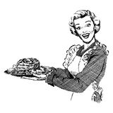 Vintage 1950s Woman Serving Dinner. Vintage 1950s etched-style woman serving roast for dinner. Detailed black and white from authentic hand-drawn scratchboard stock illustration
