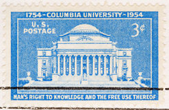 Vintage 1954 US Postage Stamp Columbia University. This is a Vintage 1954 US Postage Stamp Columbia University Royalty Free Stock Photo